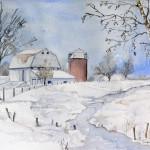 Amerikaanse Barn in de sneeuw verkleind