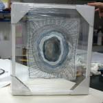 Transparant zwevend naaldkunst van Ingrid Groot